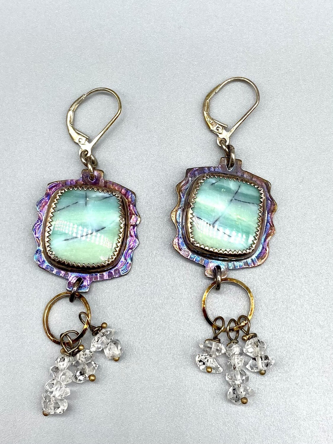 Blue Opal Petrified Wood w/Herkimer Diamond Dangle Leverback Earrings, s/s- Julie Shaw - Cocoa FL