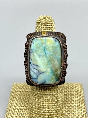 Size 7, Blue Opal Petrified Wood Ring,  22k Gold Accents, s/s Band - Julie Shaw - Cocoa FL
