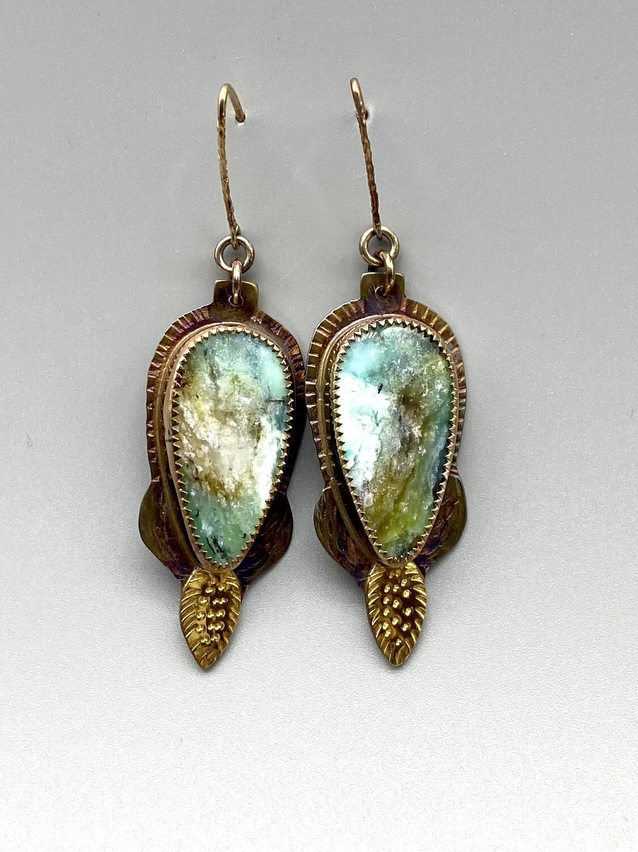 Blue Opal Petrified Wood Earrings