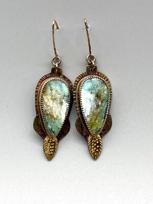 Blue Opal Petrified Wood Earrings, 22k, s/s Necklace - Julie Shaw - Cocoa FL