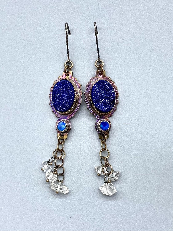 Blue Druzy, Opal and Herkimer Diamond Earrings
