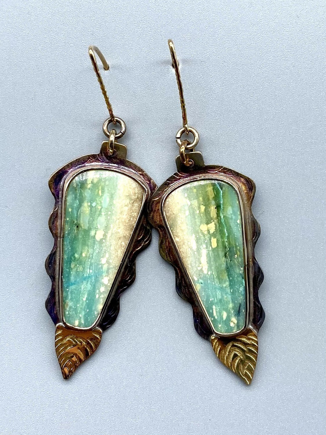 Blue Opal Petrified Wood Earrings