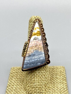 Size 7 Jasper Ring w/22k Gold Accent, Sterling Silver Band  - Julie Shaw - Cocoa FL