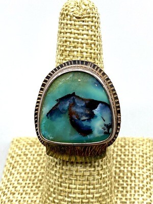 Size 8, Blue Opal Petrified Wood 22k and s/s Ring  - Julie Shaw - Cocoa FL