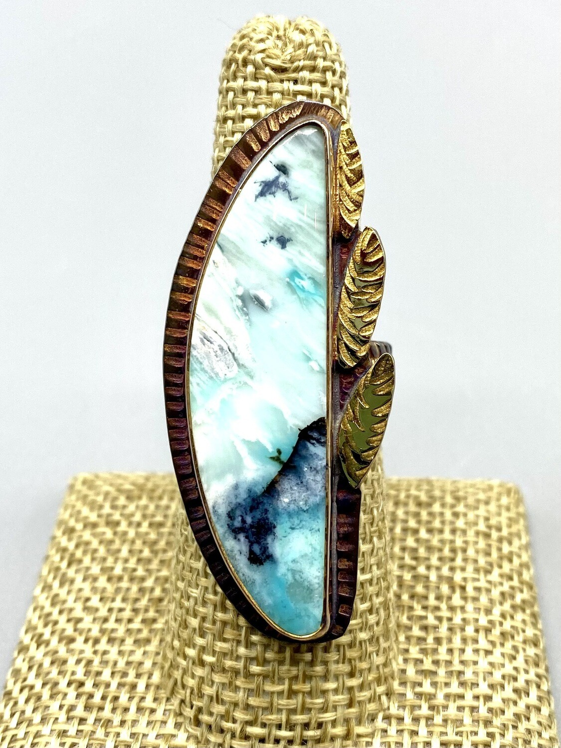 Size 8 1/4 Blue Opal Petrified Wood Ring w/22k Gold Accents, Sterling Silver Band - Julie Shaw - Cocoa FL