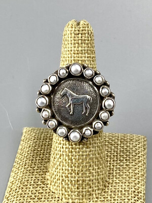 Size 7.5, Sterling Silver Equestrian Ring w/Pearl Halo  - Margaret Thurman