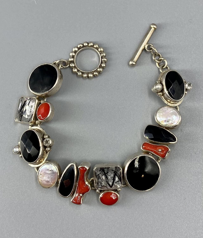 Coral, Tourmilated Quartz, Pearl and Onyx Bracelet