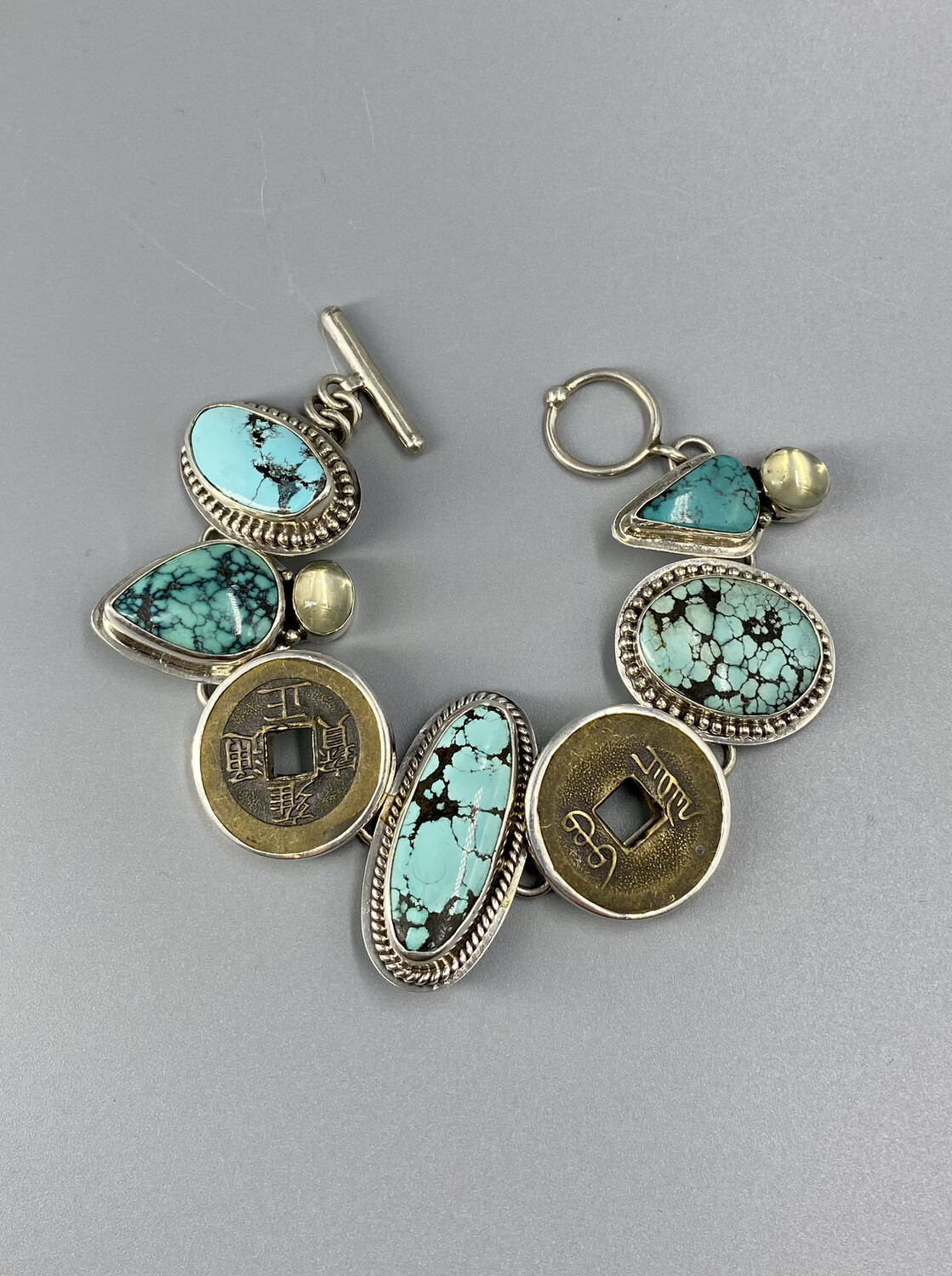 Turquoise, Chinese Coin, Green Moonstone Bracelet