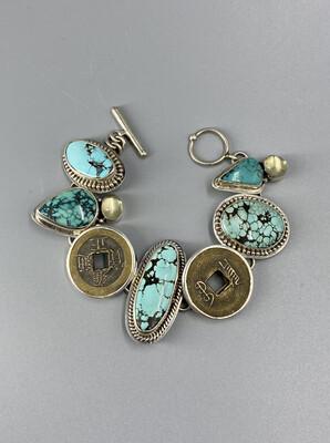 Turquoise, Chinese Coin, Green Moonstone Bracelet, s/s  - Margaret Thurman - Sedona AZ