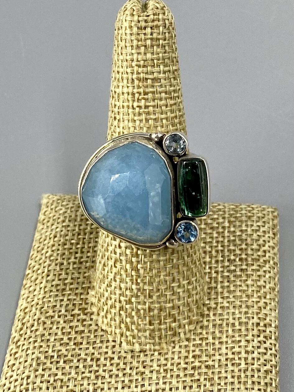 Size 8.5, Faceted Aquamarine, Green Tourmaline, Blue Topaz Ring, s/s  - Margaret Thurman - Sedona , AZ