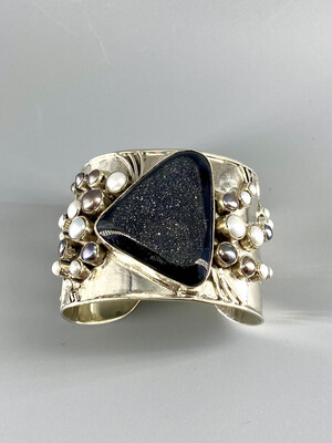 Extra Large Black Druzy, Pearl Cuff, Sterling Silver   - Margaret Thurman - Sedona , AZ