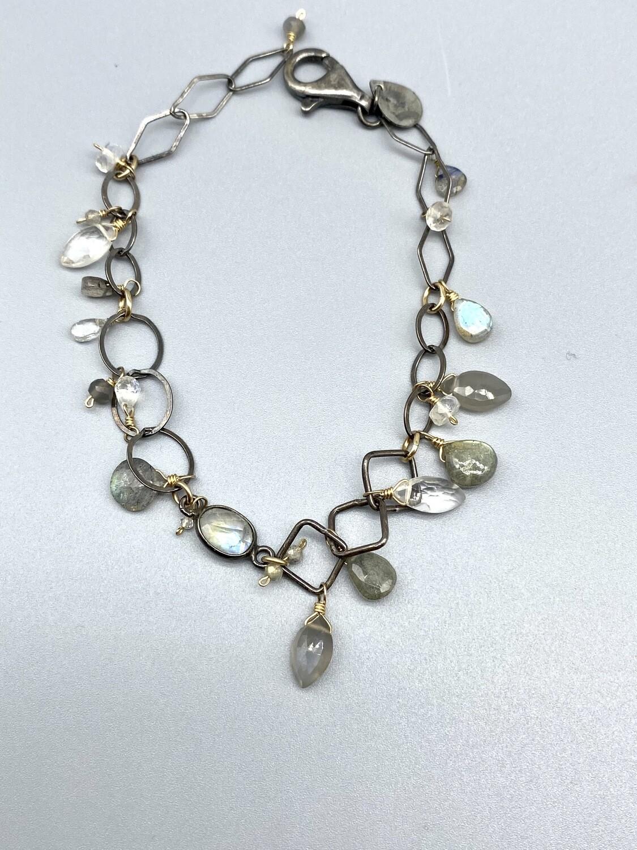 Labradorite, Moonstone & Quartz Bracelet