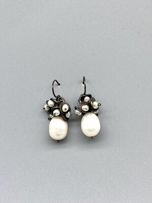 Large Pearl w/Pearl Cluster Earrings