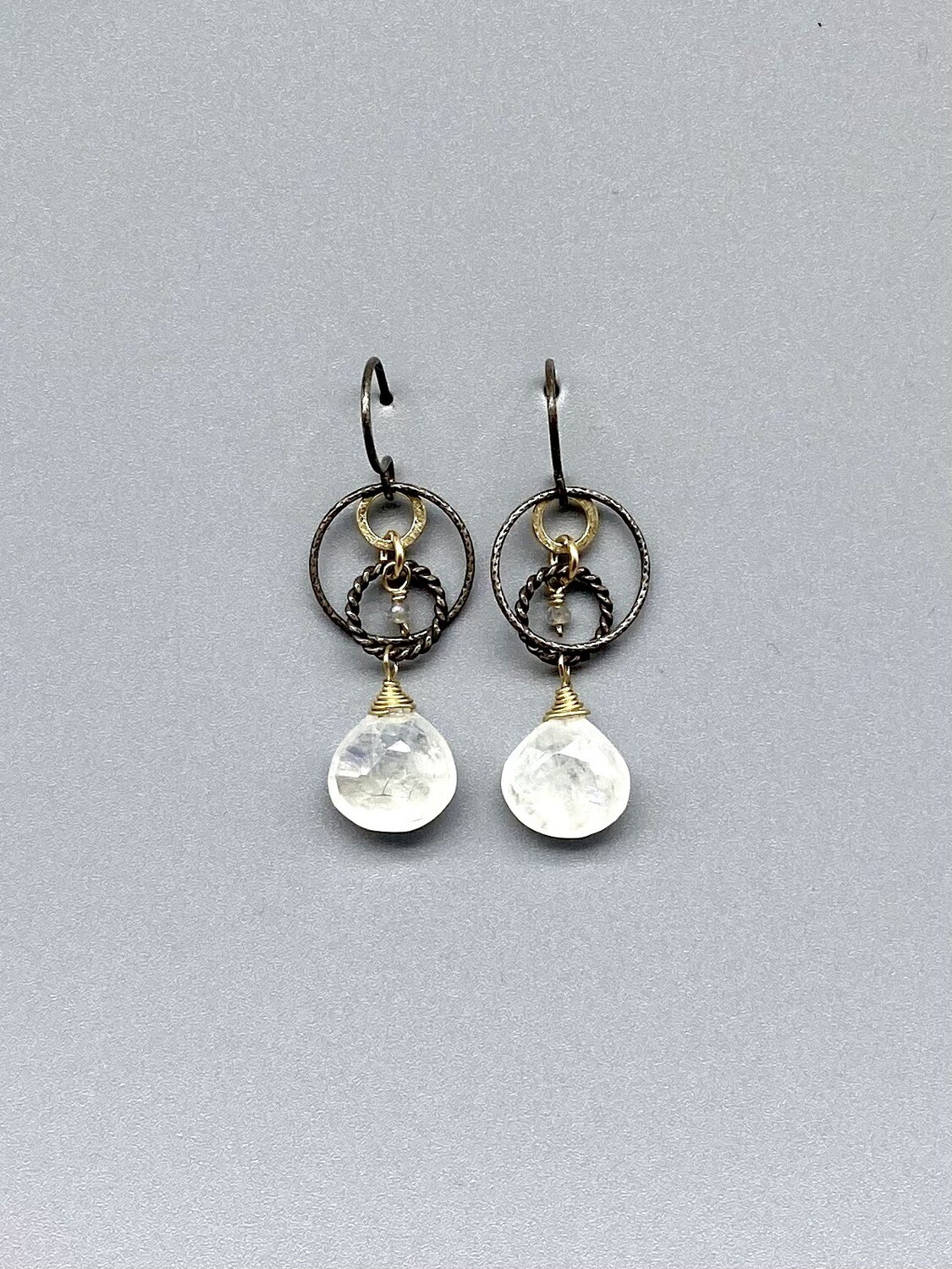 Moonstone Triple Circles Earrings, Sterling Silver w/Vermeil Accents -  Calliope - Seattle, WA