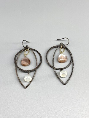 Chocolate Moonstones & White Chalcedony Earrings