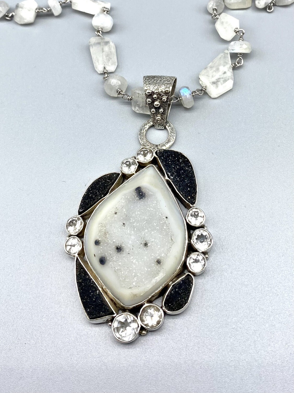 Large Black and White Druzy w/White Topaz on Rainbow Moonstone Chain, Sterling Silver  - Margret Thurman -  Sedona , AZ
