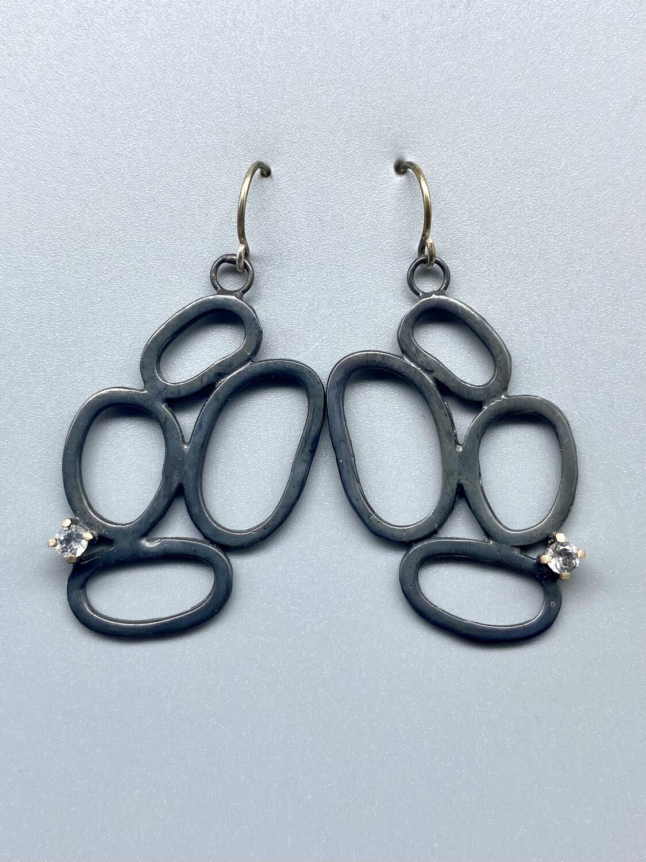 Oxidized Sterling Silver Open Form Earrings w/White Topaz
