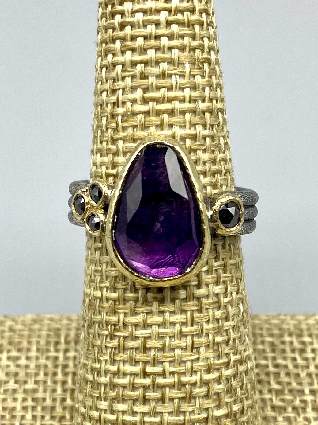 Sz 7.5 Triple Band Amethyst Ring w/Black Diamonds s/s & 18k, Rona Fisher Philadelphia PA