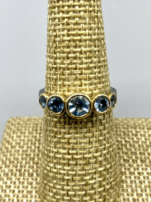 Sz 7 Aquamarine Stones and Pebble Ring,  18k and s/s  -  Rona Fisher Philadelphia PA