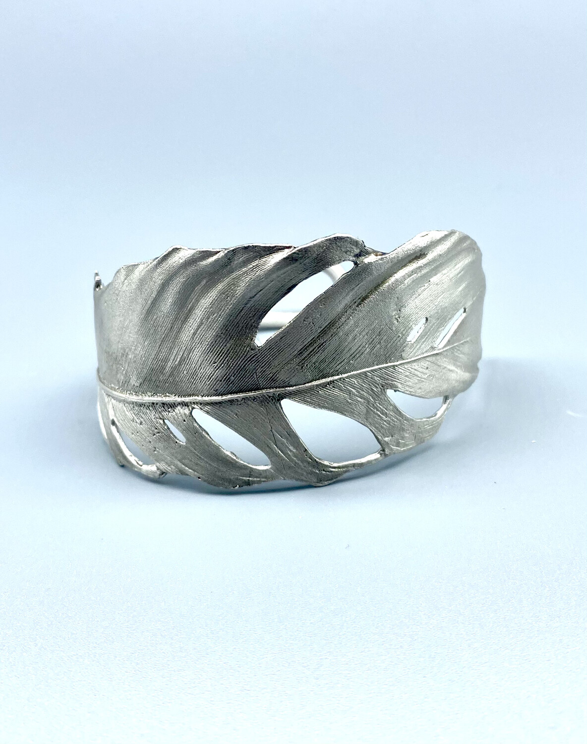7252BZSP Feather Silver Cuff, Michael Michaus, Bellmore, N Y