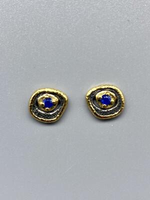 18k Yellow Gold, SS Sapphire Pebble Studs - Rona Fisher, Phila PA
