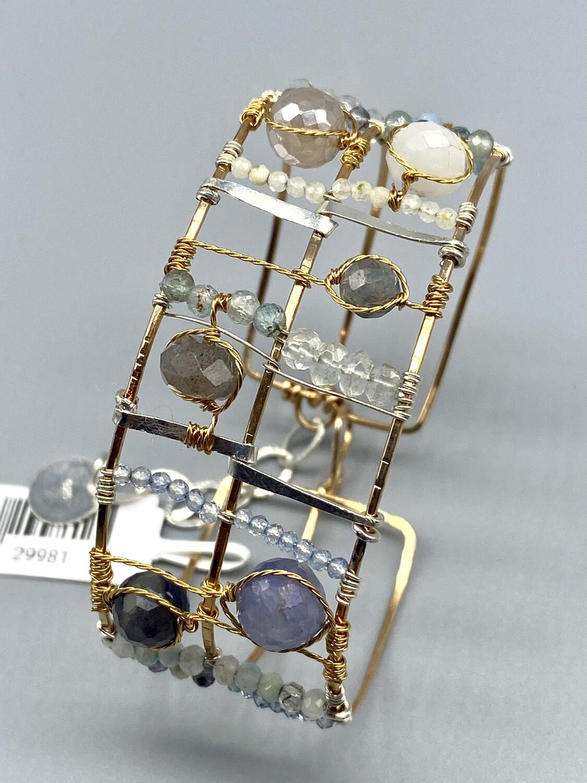 Aquamarine Plaid Cuff Bracelet