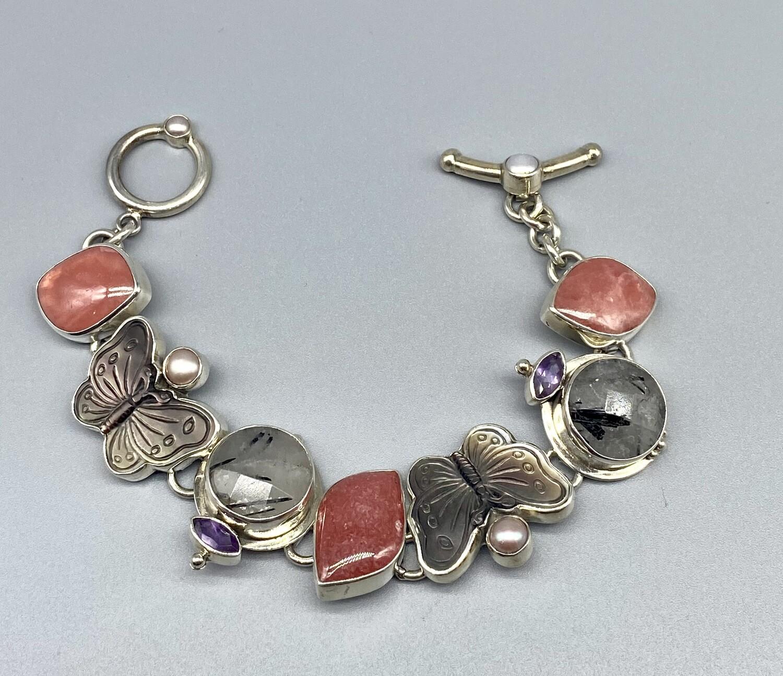 Mother of Pearl Butterfly, Rhodocrosite, Tourmilated Quartz Bracelet