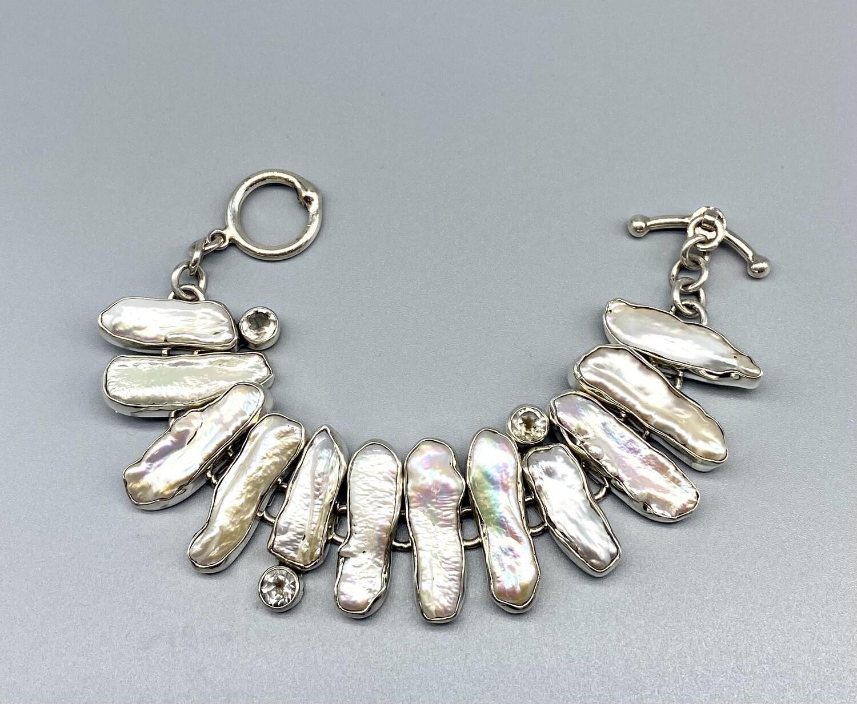 Large White Bar Pearl Bracelet, White Topaz, SS - Echo of the Dreamer, Sedona AZ