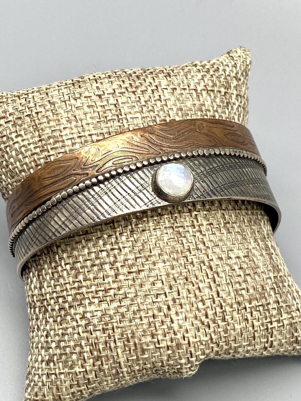 rose cut faceted moonstone s/s cuff - Olga Genoudis - Wilmington DE