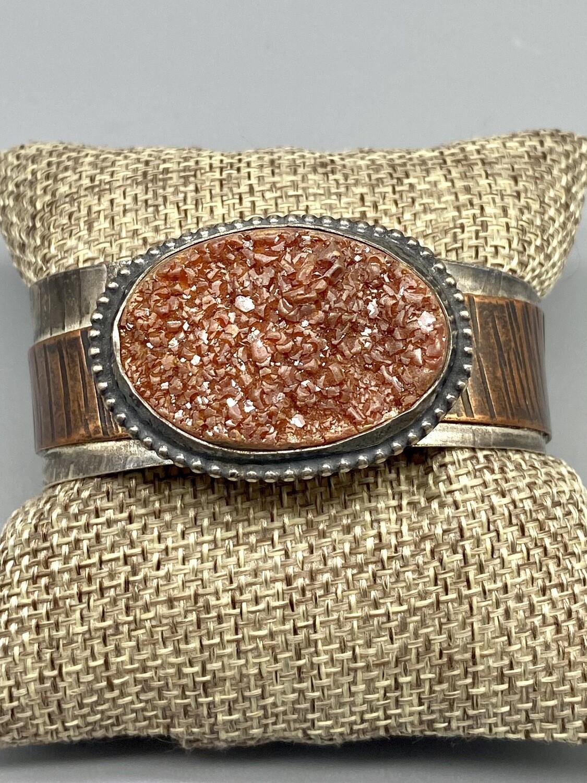 s/s, copper, qtz, drusy rust tone cuff - Olga Genoudis - Wilmington DE