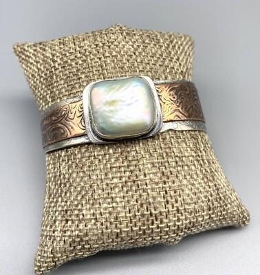 Coin Pearl Cuff, Textured Copper and Oxidized Sterling Silver, Olga Ganoudis, Wilmington DE