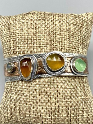Lime Chalcedony, Labradorite, Montana Agate, Textured Copper,  Oxidized Sterling Silver Cuff, Olga Ganoudis, Wilmington DE