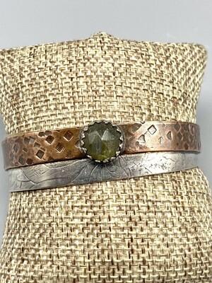 Labradorite, Textured Copper,  Oxidized Sterling Silver Cuff, Olga Ganoudis, Wilmington DE