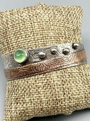Seafoam Chalcedony, Textured Copper,  Oxidized Sterling Silver Cuff, Olga Ganoudis, Wilmington DE