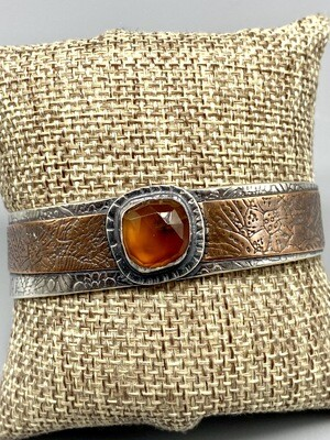 Rose Cut Montana Agate, Textured Copper and Oxidized Sterling Silver Cuff, Olga Ganoudis, Wilmington DE