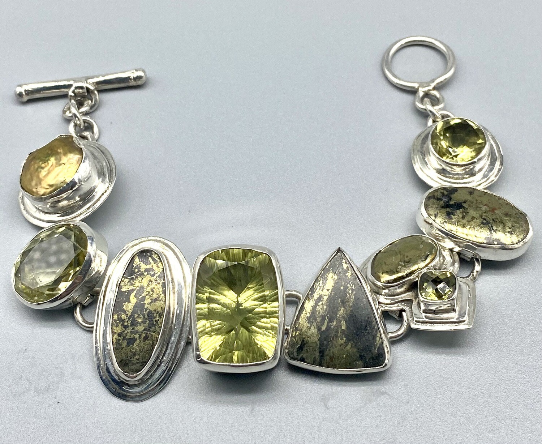 Lemon Topaz, Pyrite and Pearl Bracelet