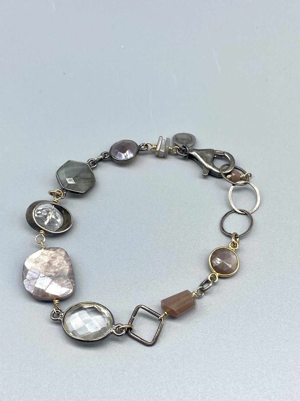 Chocolate Moonstone, Labradorite and Quartz Bracelet