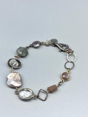 sb38 Chocolate Moonstone, Lab and Qtz Bracelet,  Sterling Silver, Vermeil, Calliope - Seattle WA