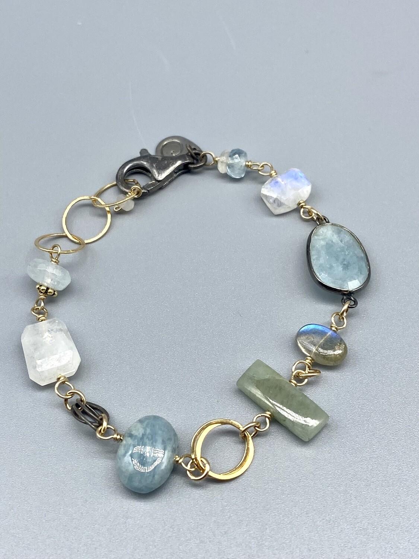 sb48 Aquamarine, Moonstone & Lab Bracelet,  Sterling Silver, Vermeil, Calliope - Seattle WA