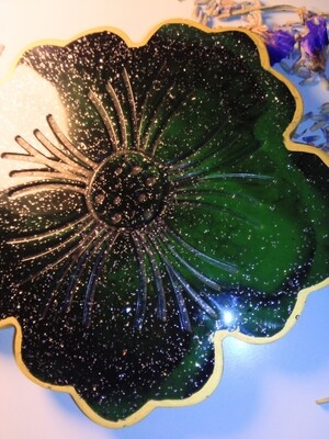 Green & Black Glittery with Gold edges Wine Coaster B