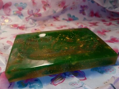 Green & Slightly Yellow/Transparent with gold glitter & gold leaf