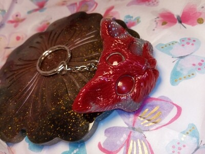 Third Eye Kitty Keyring - Vibrant Red & Grey with a hint of white acrylic