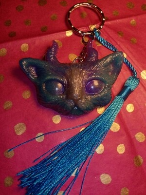 The Cute Evil Kitty Keyring metallic Blue, Purple & Silver/grey with Tassel