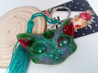 Third Eye Kitty Keyring - Red Green with Aurora Pigment