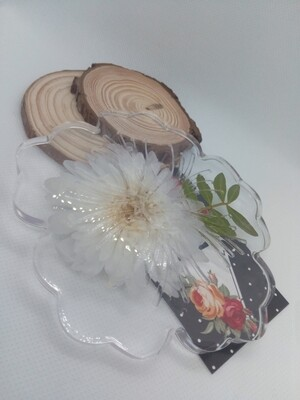 Clear, Flower & leaves Wine Coaster