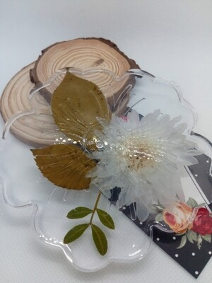 Clear, Flower & Leaves Integrated Wine Coaster