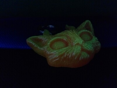 The Evil Cute Kitty Orange / Yellow Neon Glow In The Dark Pigments & a touch of gold glitter