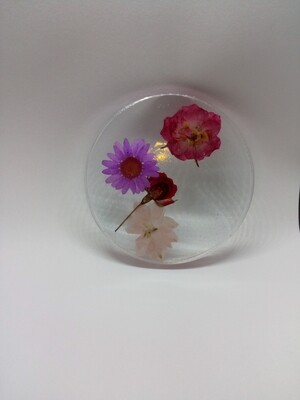 Le Circle - Cold Beverage Coaster clear with an integrated flower