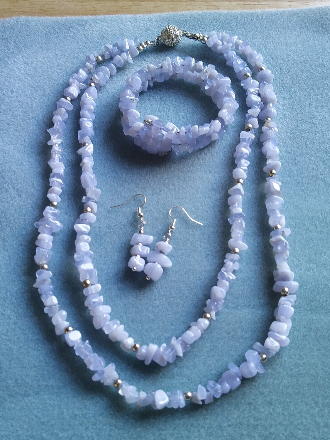 Blue Lace Agate Nuggets double strand necklace