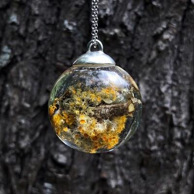 Miniature World Lichen Branch Globe Necklace
